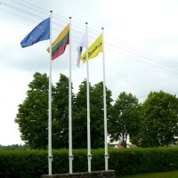 Stikla šķiedras karogu masts 6m Winch