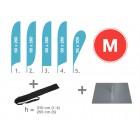 Pludmales karoga komplekts M ar pamatni 30x30 cm